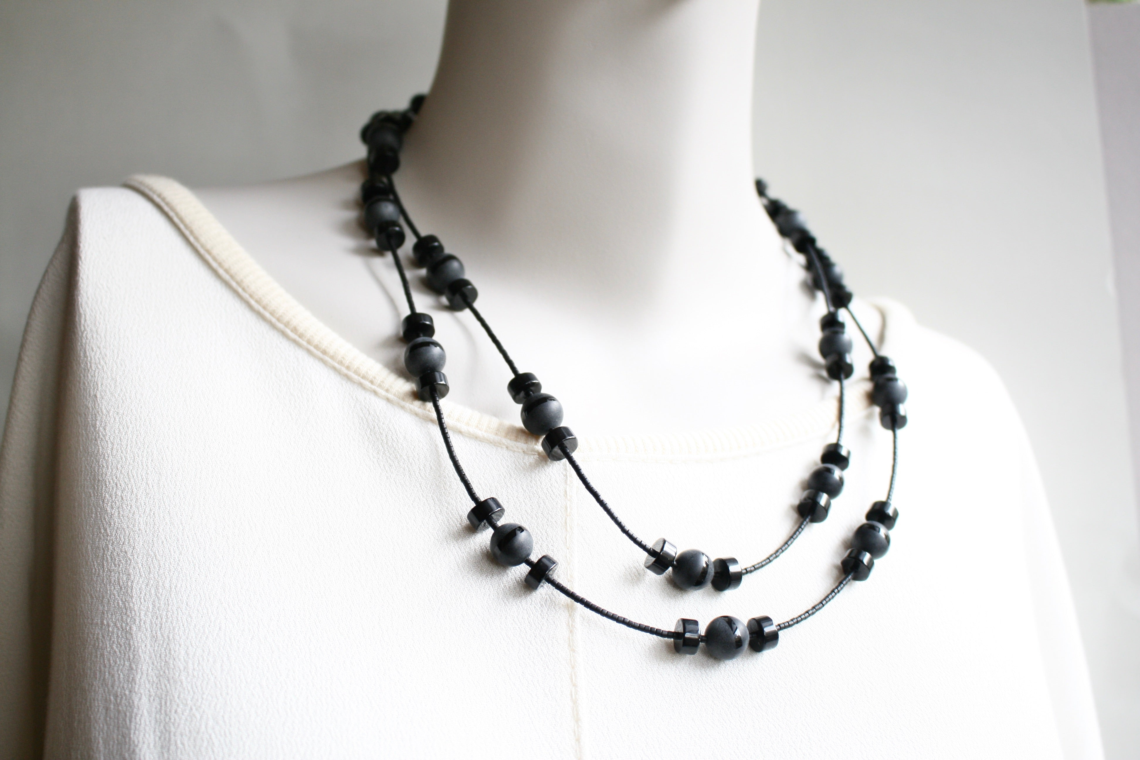 """BACK TO BLACK"" Necklace & Earrings Set *One-Off*"