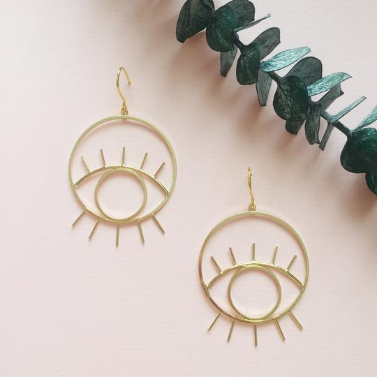 Gold plated earrings eyes