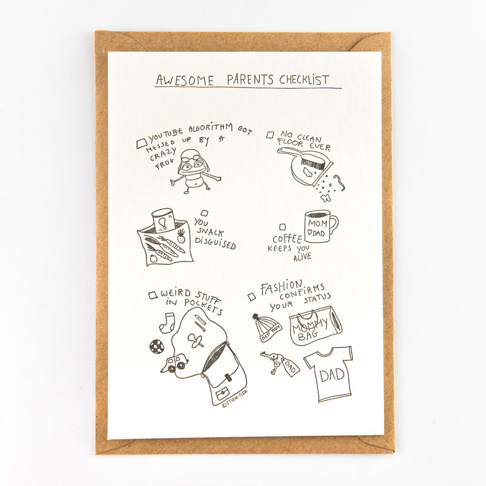 Letterpress kaart - Awesome parents checklist