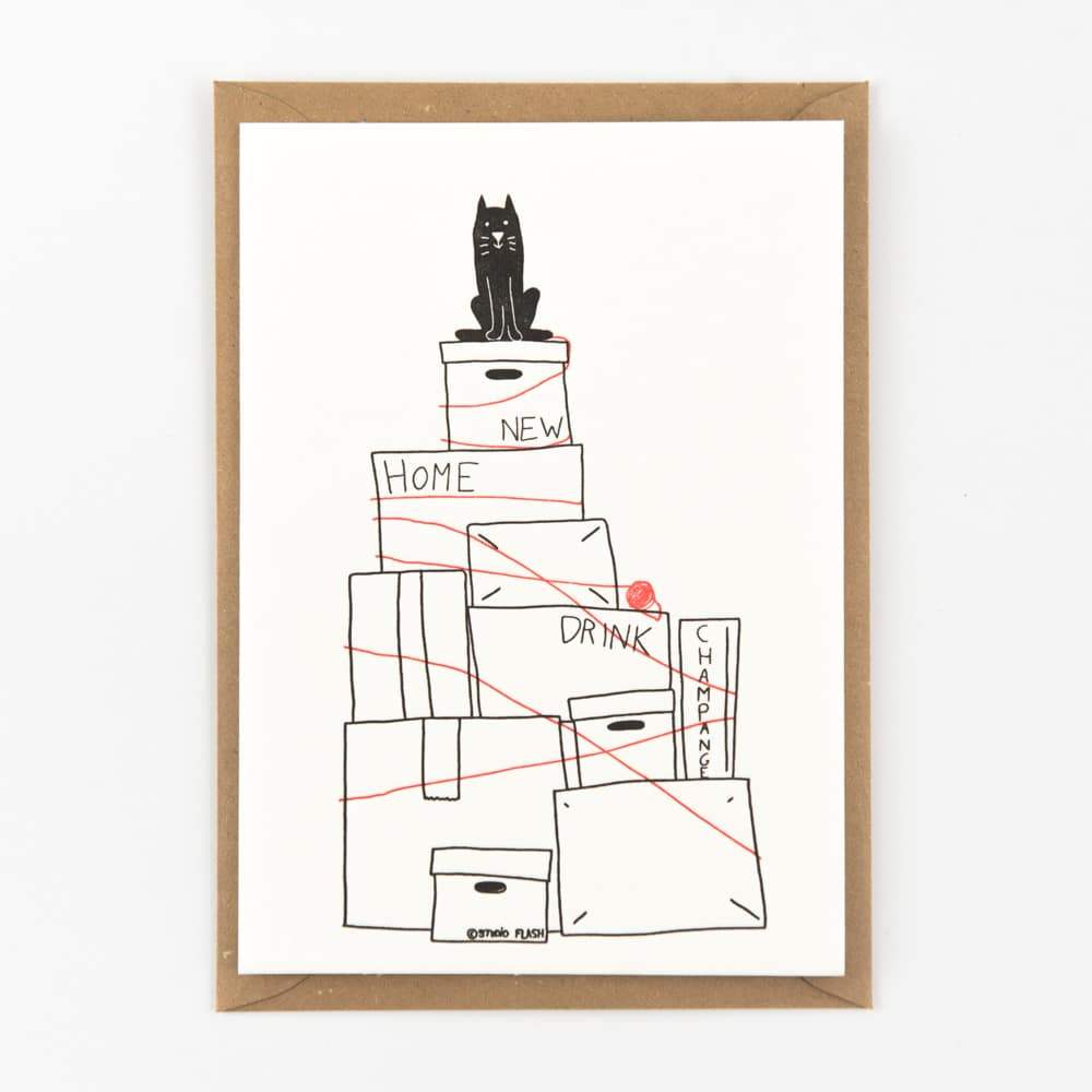 Letterpress kaart - Moving the cat