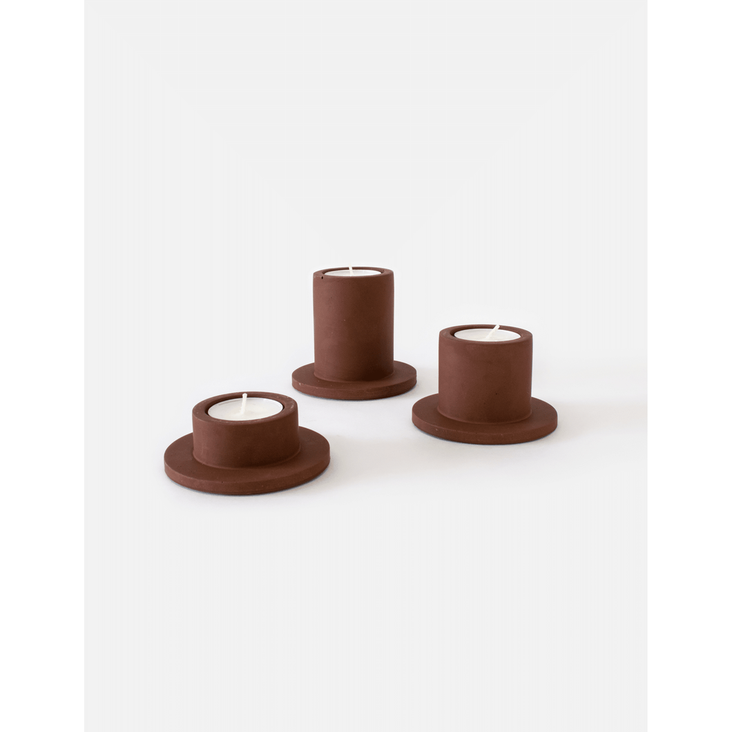 Portia tealight set marroon brown