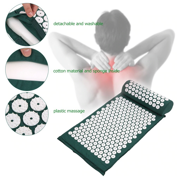 lower back pain stretcher in green color