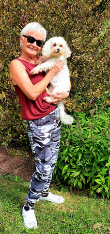 Nana wearing her charcoal gray camouflage joggers