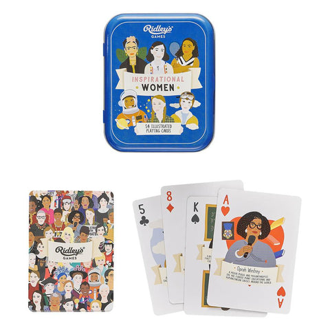 Ridley's Inspirational Women Playing Cards in a Tin Contents Displayed