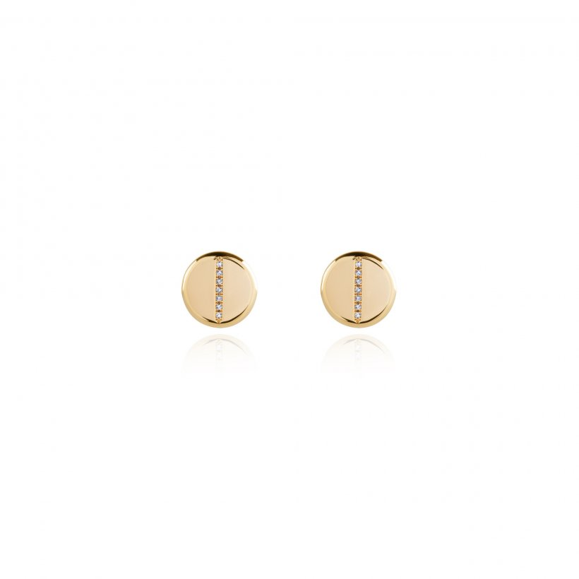 Aztek Disc Stud Earrings - Gold