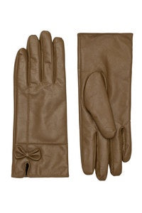 Khaki Bow Soft Leather Glove