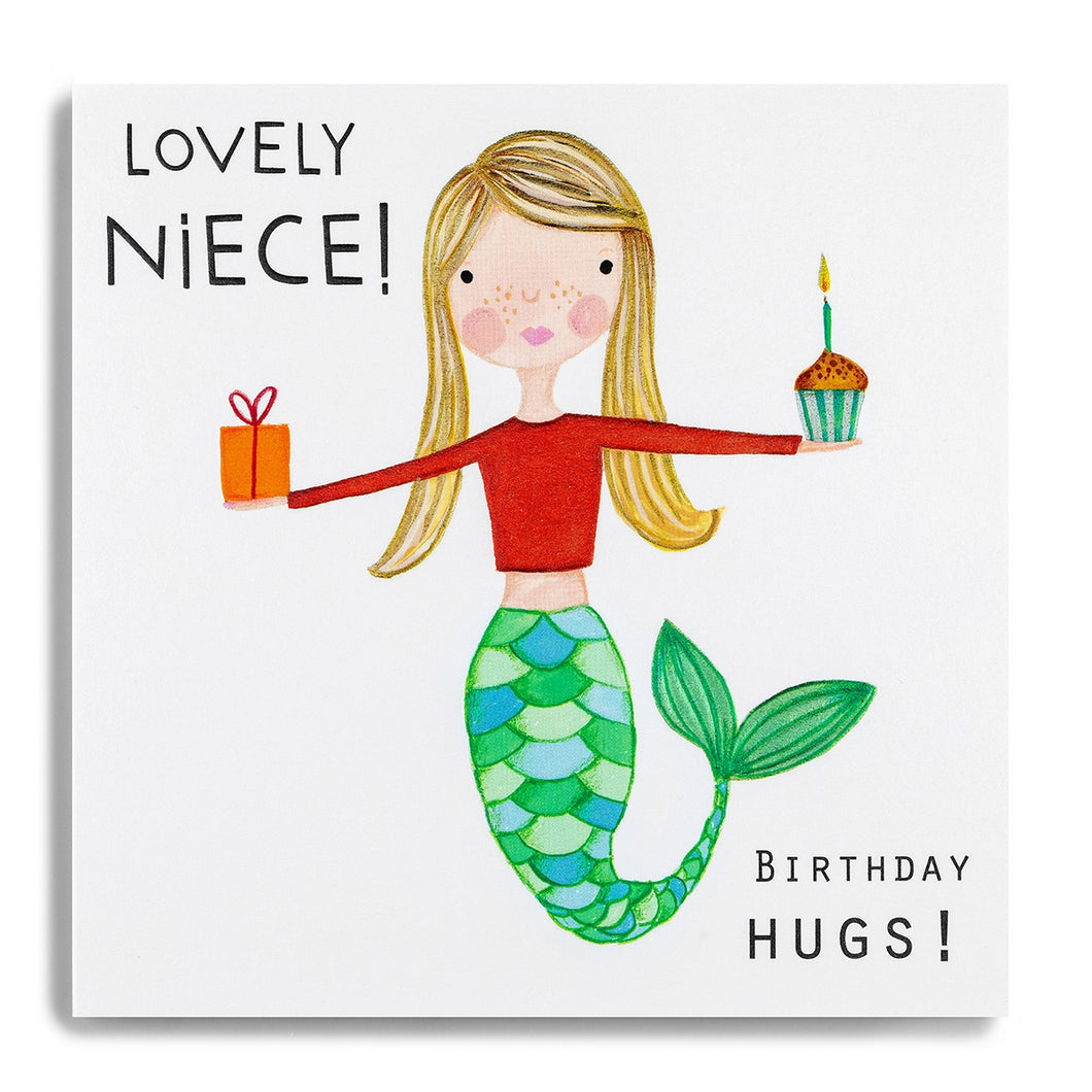 Lovely Niece! - Birthday Hugs! - Mermaid Girl with Present and Cupcake