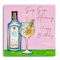 Sip Sip Hooray-Happy Birthday - Gin Bottle and Glass