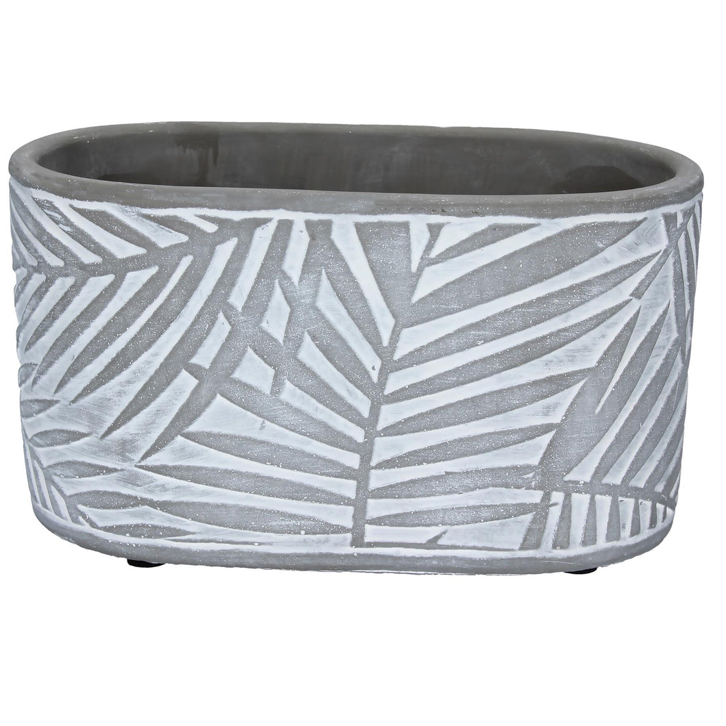 Charcoal Grey Palm Concrete Oval Planter