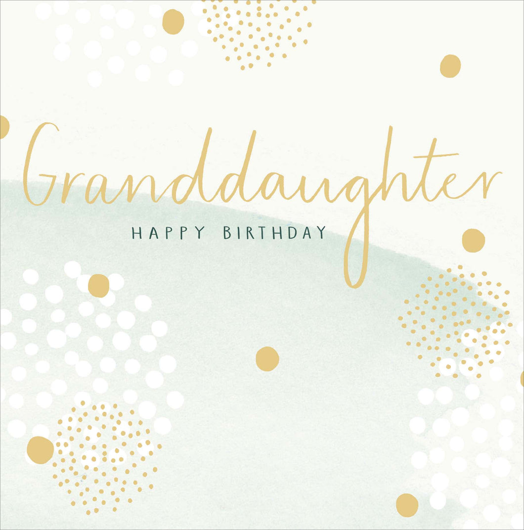 Birthday Granddaughter Gold and Green