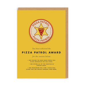 Pizza Patrol Award Iron-On Patch Card