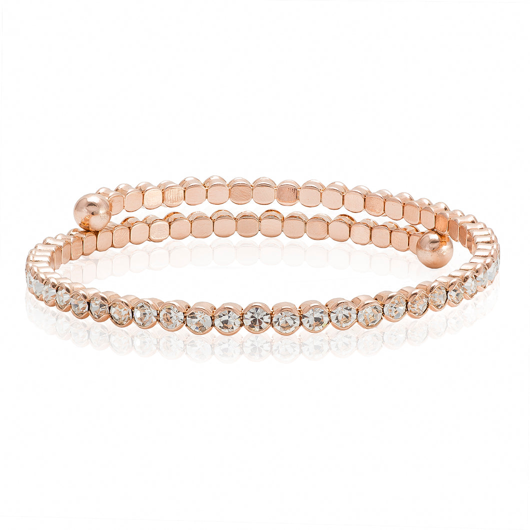 Skinny Gold Bangle with Clear Crystals