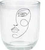 Glass T-Lite Holder with Sketched  Face Design | Gisela Graham
