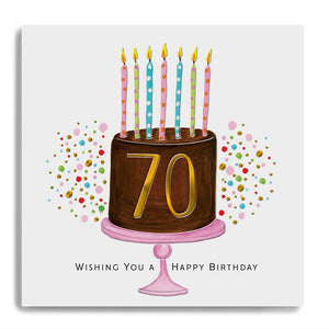 70 Wishing You A Happy Birthday - Choc Cake and Candles