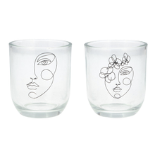 Load image into Gallery viewer, Glass T-Lite Holder with Sketched  Face Design | Gisela Graham