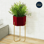 Home Living Red Velvet Planter on Gold Metal Stand 27cm