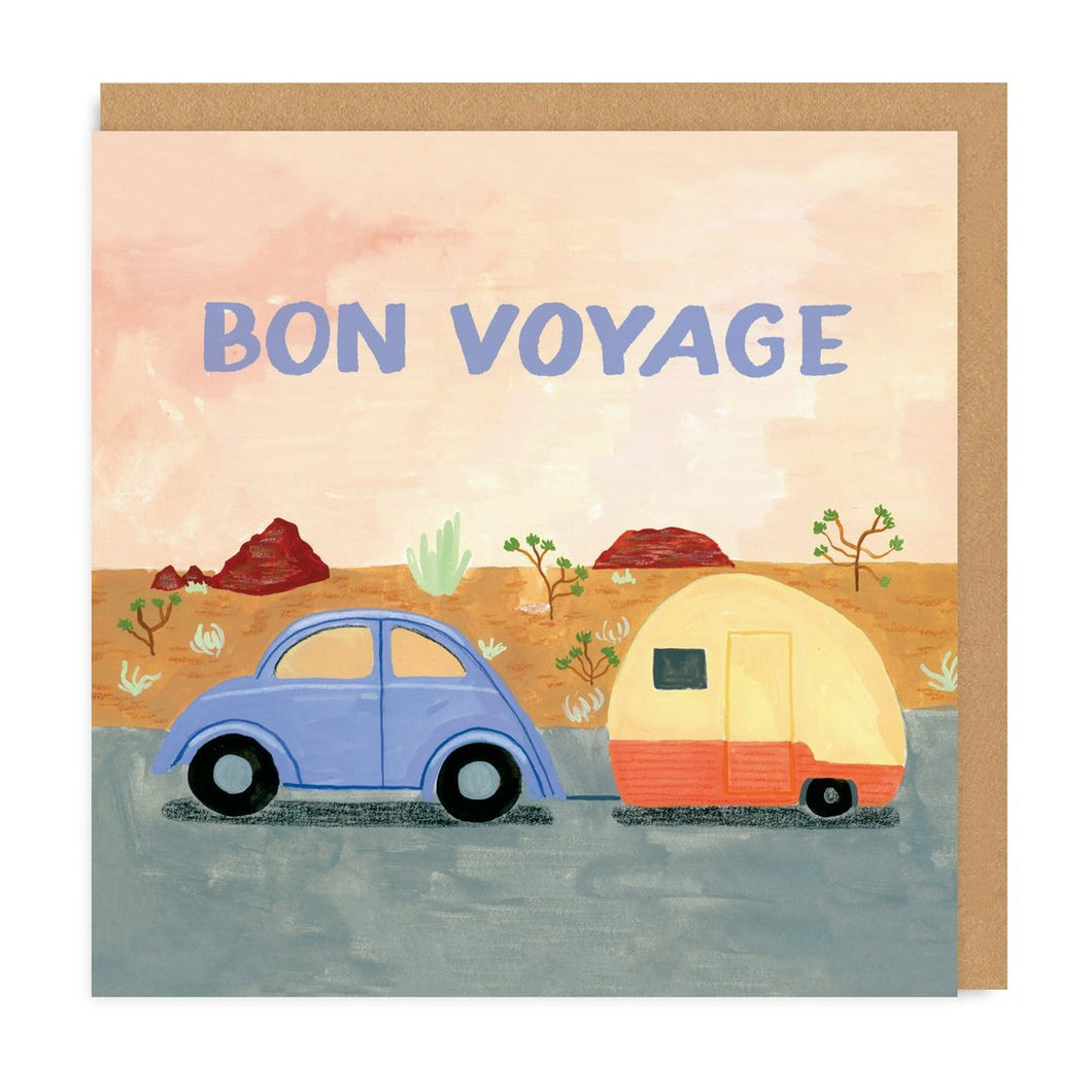 Bon Voyage Trailer Square Greeting Card