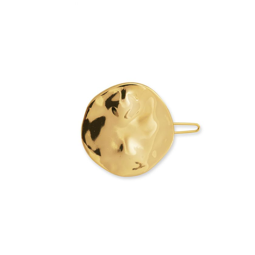Hammered Gold Disc Hair Clip Accessory