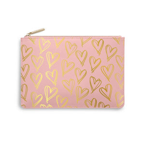 Heart Print Pink Perfect Pouch