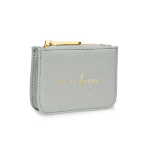 Grey Live to Dream Coin Purse Stylish Structured
