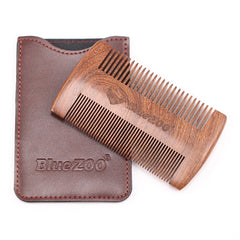 Wood Double-side Beard Comb;
