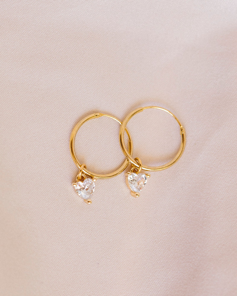 Crystalline Hearts Hoops | Gold