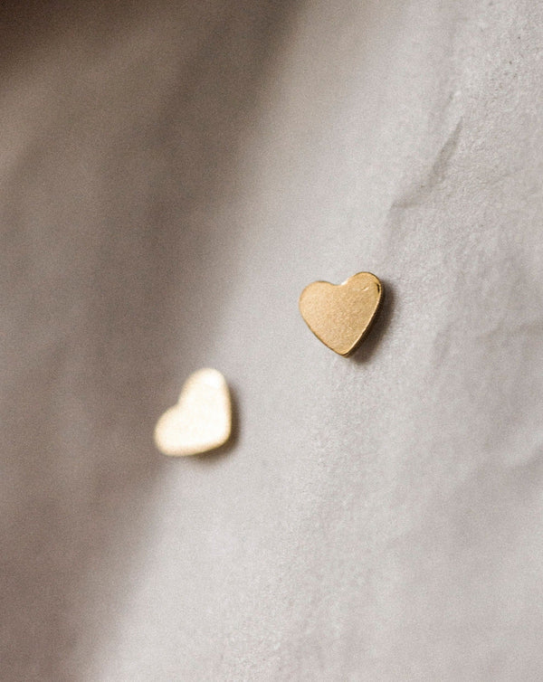 Tiny Heart Studs | Gold