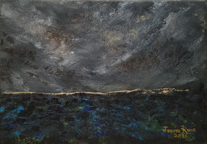 A Passing Storm - original oil painting, seascape, clouds, storm, abstract, clouds, dark, weather, sea, ocean, unique, waves, canvas, small, home, wall, art