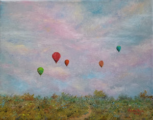 Andiamo - original oil painting, hot air balloon, balloon, clouds, landscape, travel, colorful, original, oil painting, unique, wall art, home decor, art