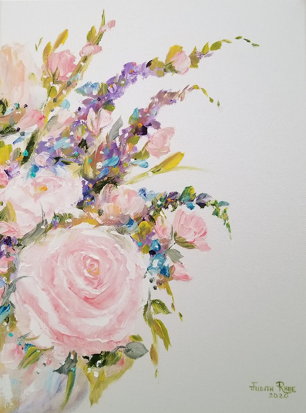 April's Pearls (right) - original oil painting, flowers, pink, roses, still life, nature, oil painting, on canvas, wall art, home, decor, wedding, gift, garden, art