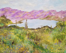 Load image into Gallery viewer, Bartlett Lake in Spring - original oil painting, landscape, cactus, saguaro, southwest, desert, oil painting, lake, Bartlett Lake, Arizona, flowers, decor, framed