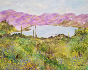 Bartlett Lake in Spring - original oil painting, landscape, cactus, saguaro, southwest, desert, oil painting, lake, Bartlett Lake, Arizona, flowers, decor, framed