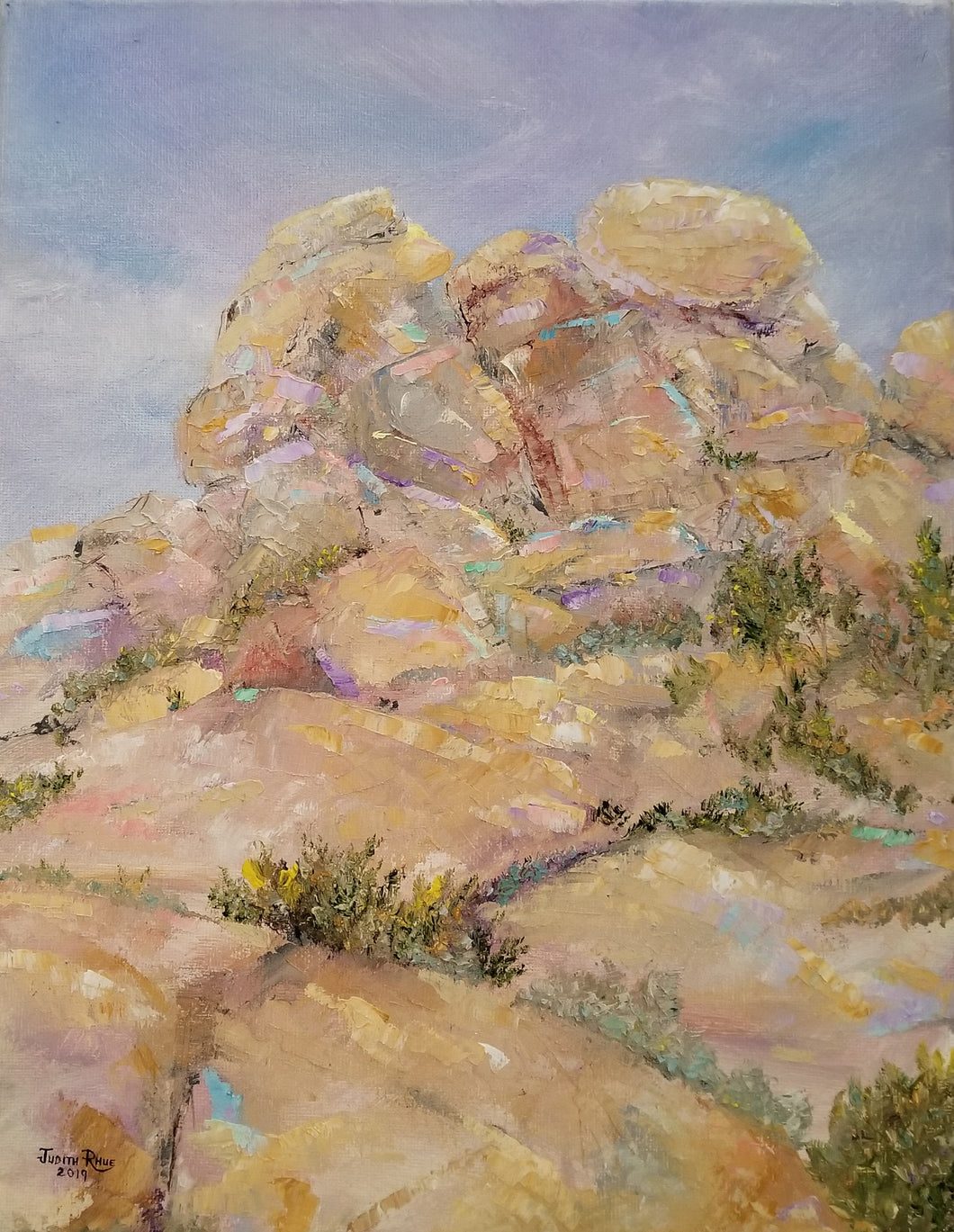 Boulders - original oil painting, landscape, rocks, boulders, boulder, rock, clouds, southwest, Arizona, southwestern, western, desert, home, wall, decor, art
