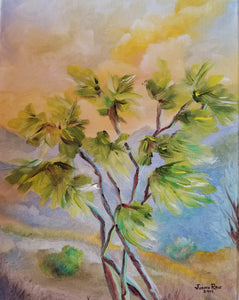 Canyon Wind - original oil painting, tree, landscape, clouds, wind, desert, oil painting, trees, painting, on canvas, art, wall art, decor, home, nature