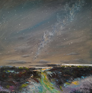 Connecting Realms - original oil painting, landscape, abstract, night sky, stars, clouds, milky way, waterfall, astronomy, wall, home, decor, canvas, dusk, art