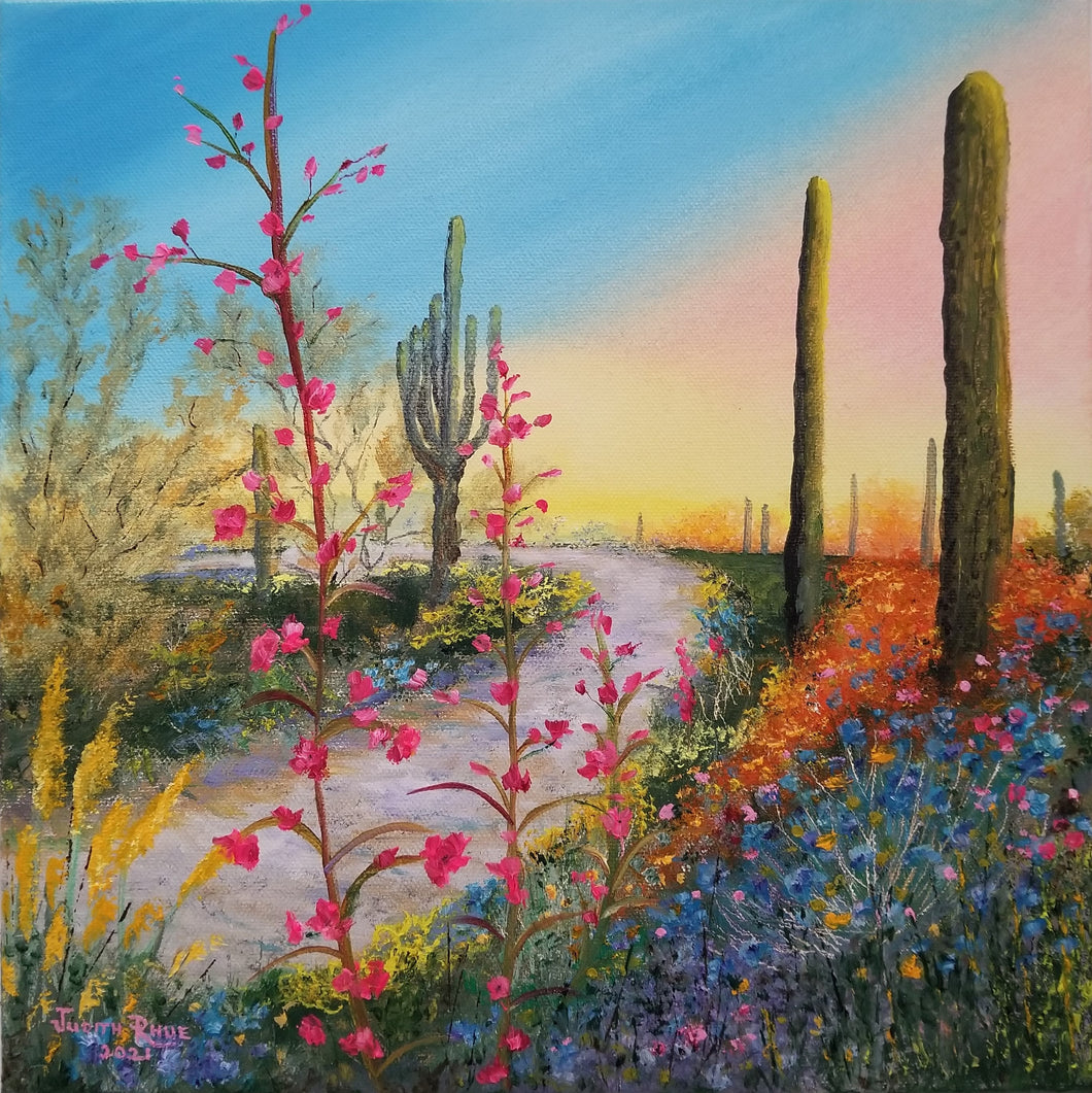 Continual Miracle - original oil painting desert landscape flowers cactus saguaro daybreak sunrise sun miracle garden Southwest Arizona decor canvas signed art