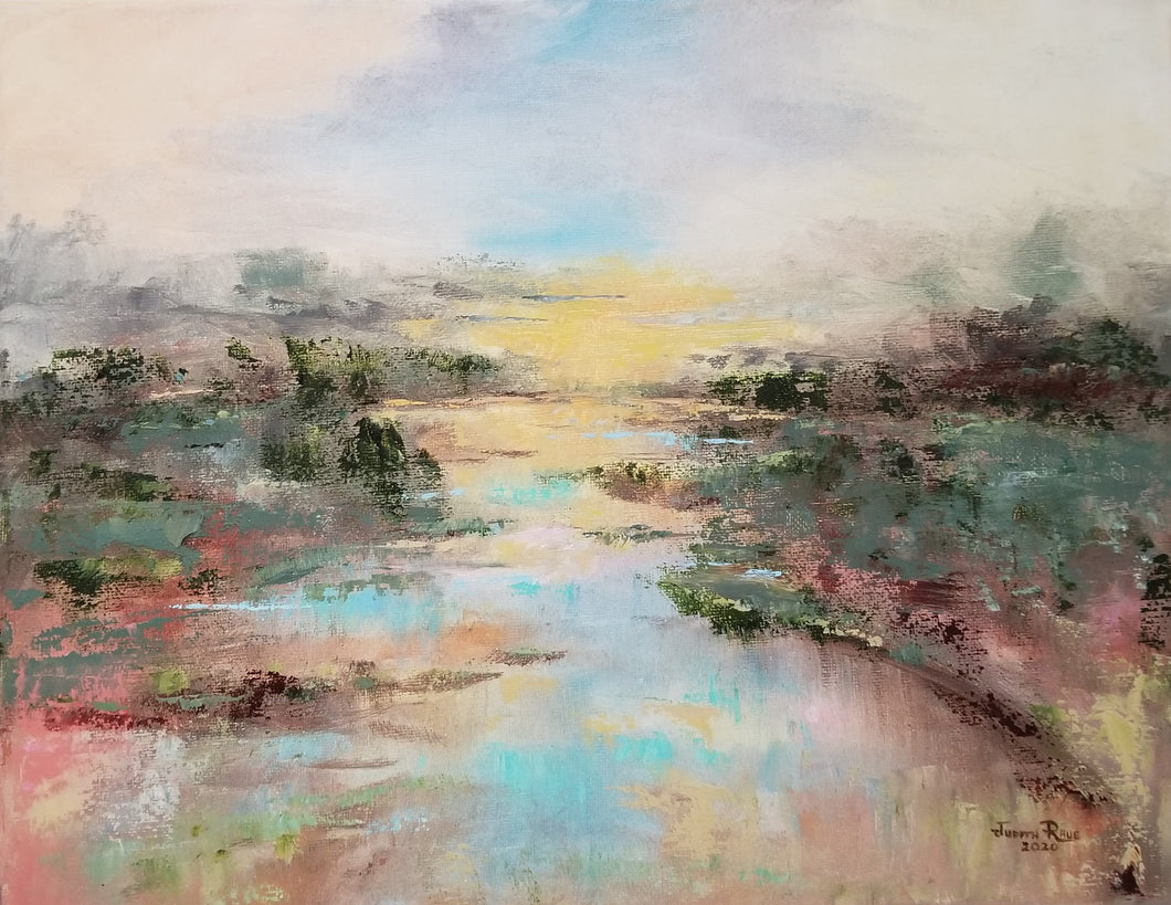 Delaware Daybreak - original oil painting, landscape, sunrise, pond, nature, trees, wilderness, coastal, preserve, clouds, sun, colorful, canvas, wall decor, art