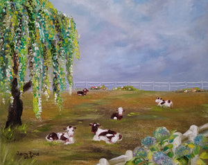 Do Not Disturb - original oil painting, cows, landscape, painting, cow, animals, oil painting, hydrangea, flowers, farm, nature, clouds, painitng, on canvas, wall art, home decor