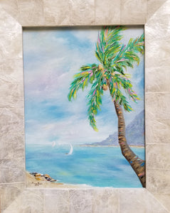 Coconut Flavor - original oil painting, beach, island, palm tree, landscape, oil painting, sail boat, tropical, framed, painting, on canvas, coconut, tree, wall decor, wall art, home decor