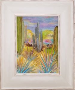 Desert Drama - original oil painting, saguaro, landscape, oil painting, desert, cactus, painting, southwest, original, painting garden, canvas, framed, wall art, home decor