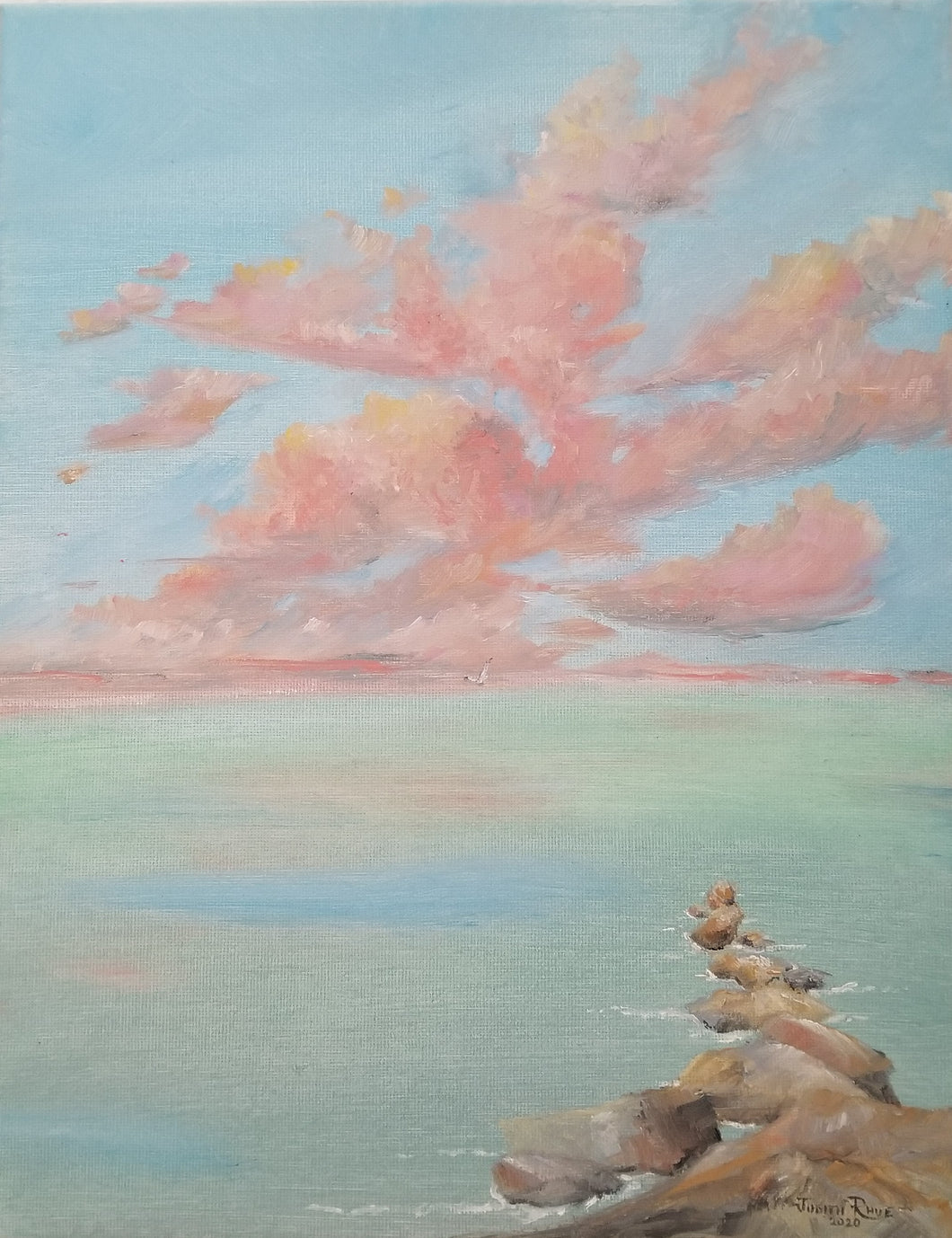 Indelible Day - original oil painting, beach, landscape, clouds, cloudscape, shore, rocks, ocean, sea, tropical, canvas, wall art, home decor, wall decor