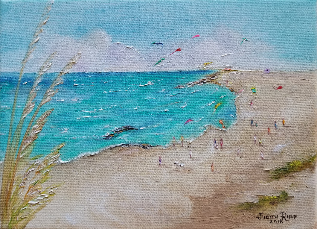 Kites on the Beach - oil painting beach landscape kite kites people sand shore sea ocean seascape clouds peace play waves seagrass decor original canvas wall art