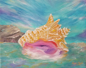 Loner - original oil painting, conch, shell, island, sea, ocean, seashell, tropical, colorful, unique, coastal, beach, tide, wall, home, canvas, signed, art, decor