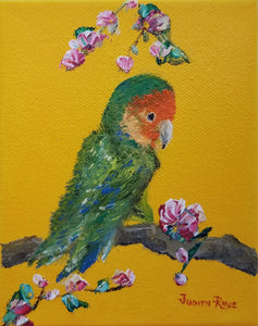 Lovebird I - original oil painting, lovebird, bird, landscape, colorful, unique, gift, animal, birds, canvas, wall art, wall decor, home decor, hope, art