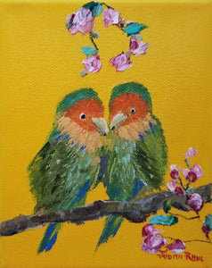 Lovebird II - original oil painting, lovebird, bird, birds, couple, landscape,  love, animal, colorful, wall art, home decor, wall art, gift, anniversary