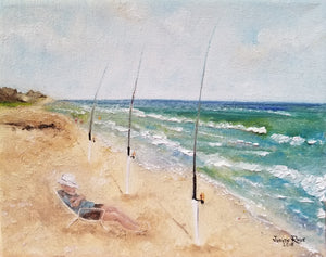 Multitasking - original oil painting, beach, landscape, coastal, fisherman, fishing, fish, poles, man, person, figure, wall, home, canvas, art