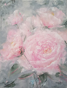 Nature's Peace - original oil painting, flowers, rose, peony, pink, garden, flower, peonies, roses, nature, landscape, beauty, wall art, canvas, home decor, art, artwork