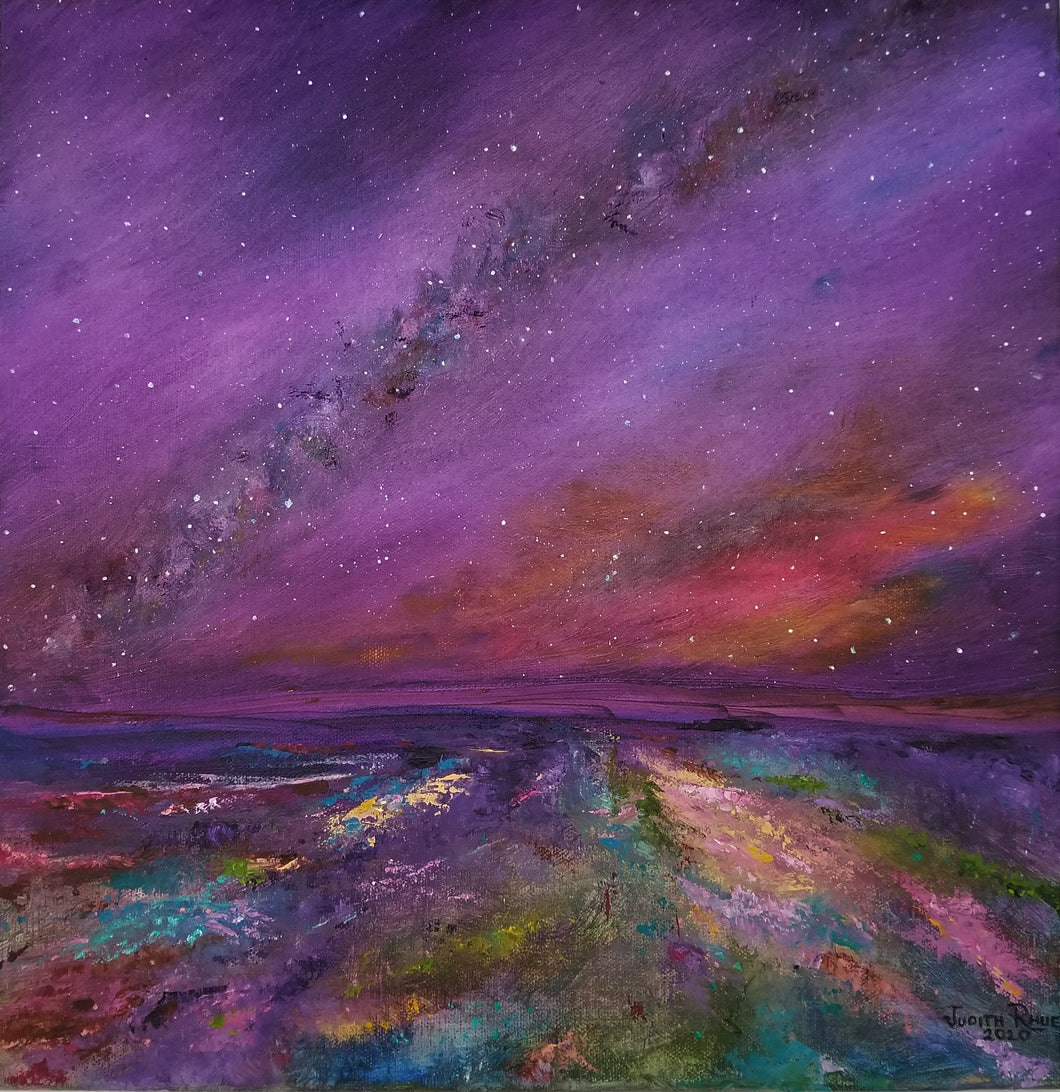 Nothing is Lost - original oil painting, landscape, abstract, night sky, milky way, stars, astronomy, colorful, unique, gift, canvas, wall, home, decor, art