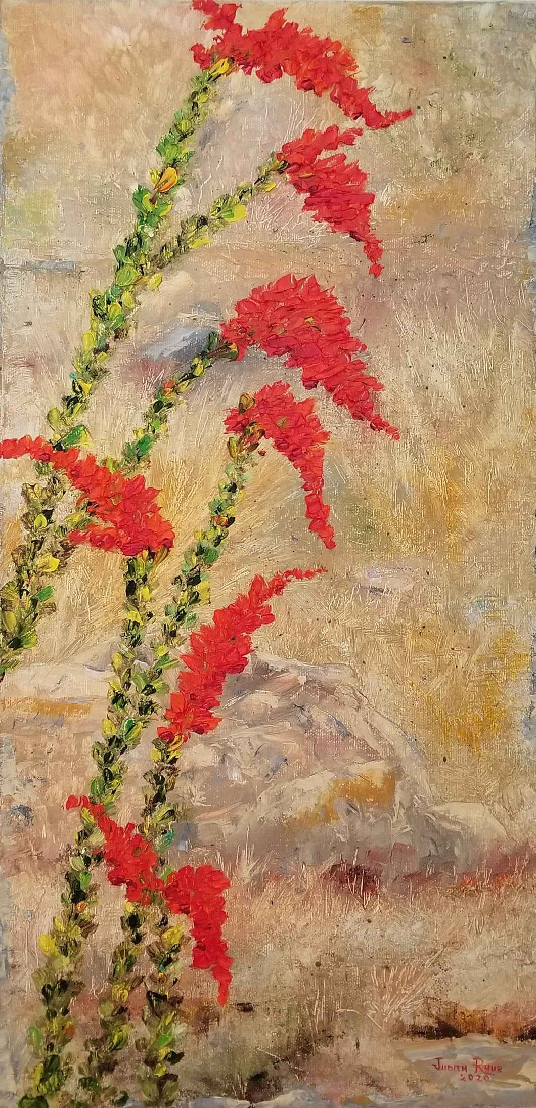 Ocotillo Wave - original oil painting, ocotillo, desert, landscape, colorful, Arizona, plant, garden, unique, southwest, oil painting, wall decor, home, art
