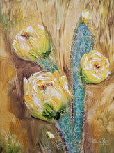 Load image into Gallery viewer, Only the Beginning - cactus flower yellow desert southwest southwestern framed original oil painting garden nature inspired art